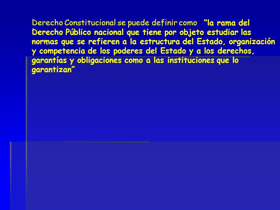 Derecho Constitucional se puede definir como la rama del Derecho Público nacional que tiene por objeto estudiar las normas que se refieren a la estruc