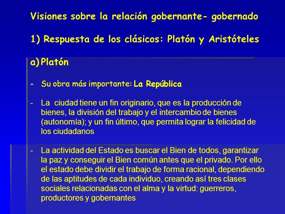 Visiones sobre la relación gobernante- gobernado 1) Respuesta de los clásicos: Platón y Aristóteles a)Platón - Su obra más importante: La República -L