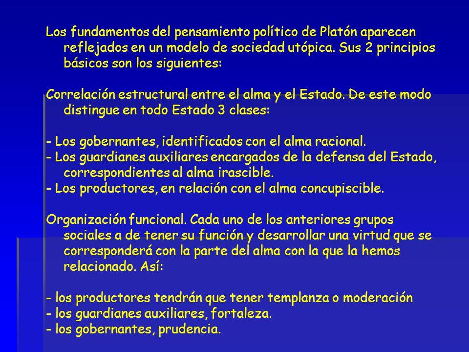 Los fundamentos del pensamiento político de Platón aparecen reflejados en un modelo de sociedad utópica. Sus 2 principios básicos son los siguientes: