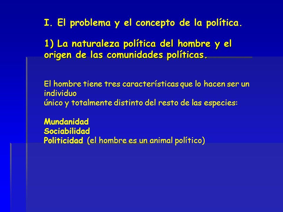 1) La naturaleza política del hombre y el origen de las comunidades políticas. I. El problema y el concepto de la política. 1) La naturaleza política