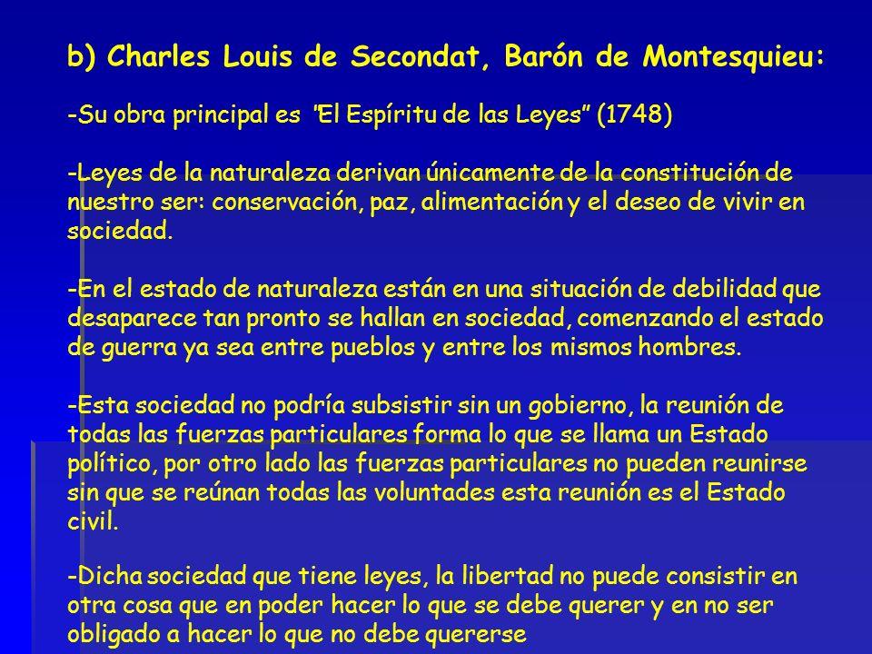 b) Charles Louis de Secondat, Barón de Montesquieu: -Su obra principal es El Espíritu de las Leyes (1748) -Leyes de la naturaleza derivan únicamente d
