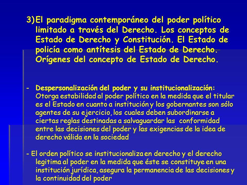3)El paradigma contemporáneo del poder político limitado a través del Derecho. Los conceptos de Estado de Derecho y Constitución. El Estado de policía