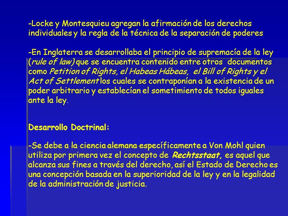 -Locke y Montesquieu agregan la afirmación de los derechos individuales y la regla de la técnica de la separación de poderes -En Inglaterra se desarro