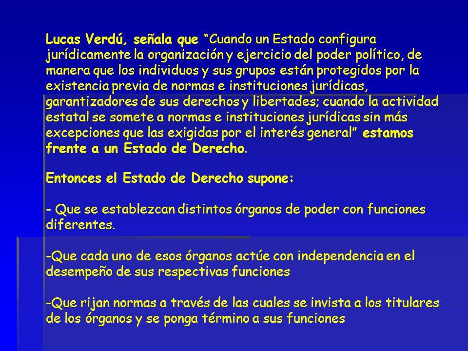 Lucas Verdú, señala que Cuando un Estado configura jurídicamente la organización y ejercicio del poder político, de manera que los individuos y sus gr