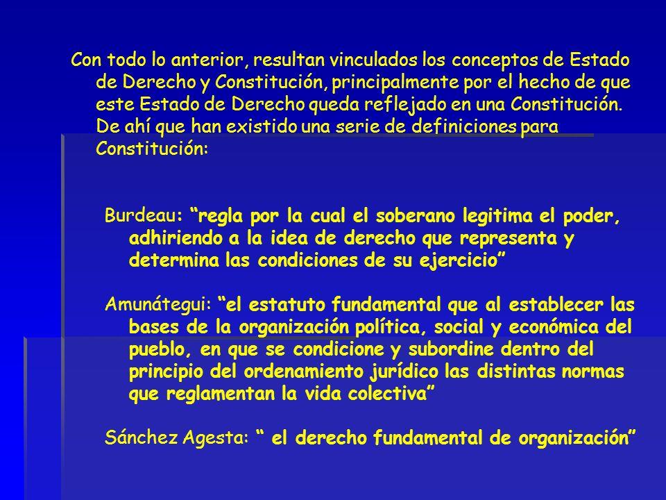 Con todo lo anterior, resultan vinculados los conceptos de Estado de Derecho y Constitución, principalmente por el hecho de que este Estado de Derecho