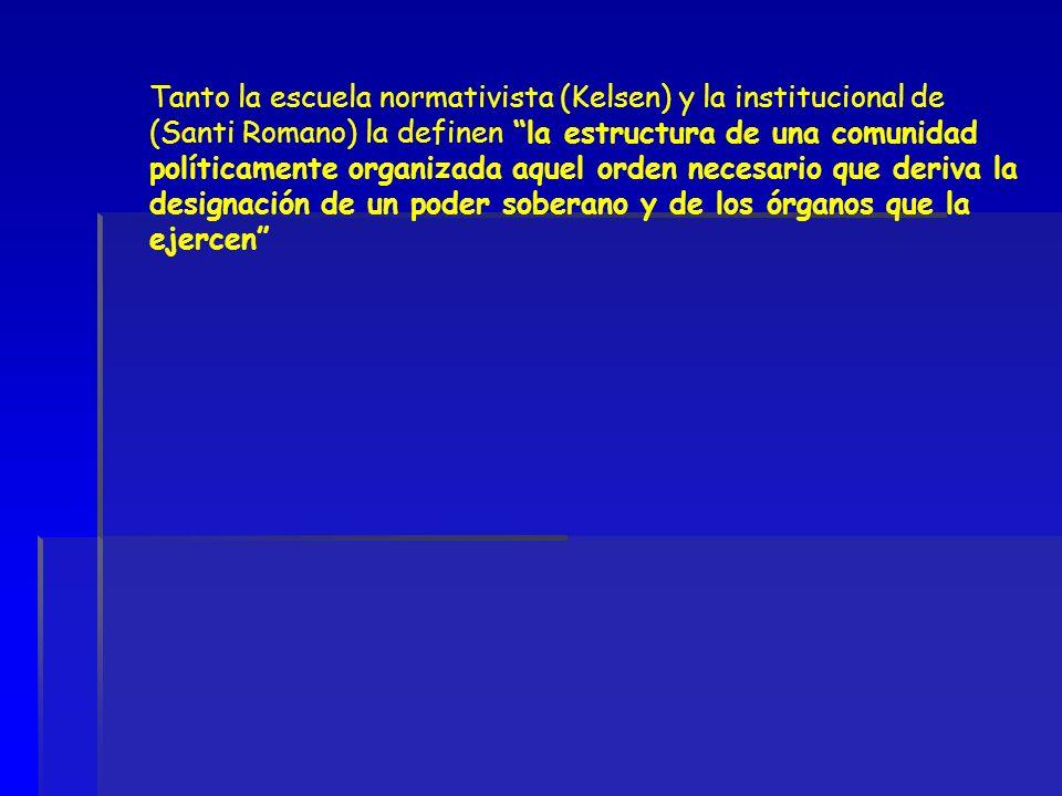 Tanto la escuela normativista (Kelsen) y la institucional de (Santi Romano) la definen la estructura de una comunidad políticamente organizada aquel o