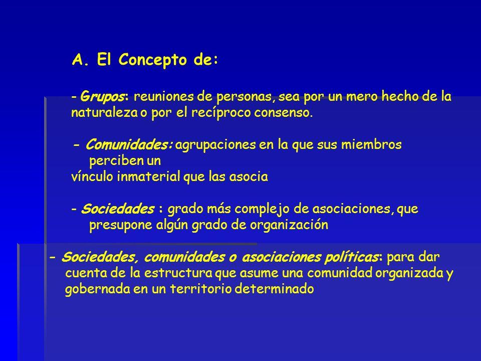 A. El Concepto de: - Grupos: reuniones de personas, sea por un mero hecho de la naturaleza o por el recíproco consenso. - Comunidades: agrupaciones en