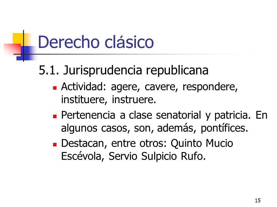 15 Derecho cl á sico 5.1. Jurisprudencia republicana Actividad: agere, cavere, respondere, instituere, instruere. Pertenencia a clase senatorial y pat