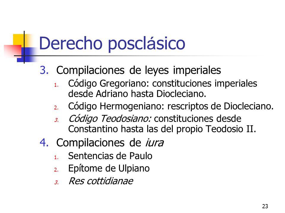 23 Derecho poscl á sico 3.Compilaciones de leyes imperiales 1. Código Gregoriano: constituciones imperiales desde Adriano hasta Diocleciano. 2. Código