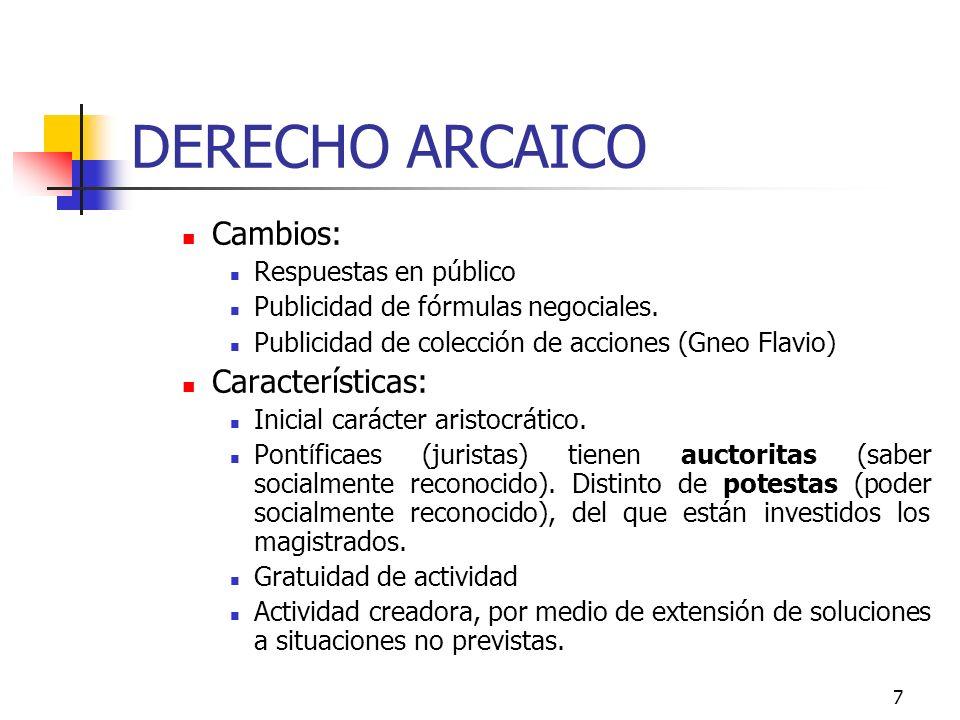 7 DERECHO ARCAICO Cambios: Respuestas en público Publicidad de fórmulas negociales. Publicidad de colección de acciones (Gneo Flavio) Características: