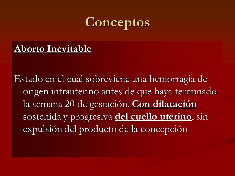 Conceptos Aborto Inevitable Estado en el cual sobreviene una hemorragia de origen intrauterino antes de que haya terminado la semana 20 de gestación.