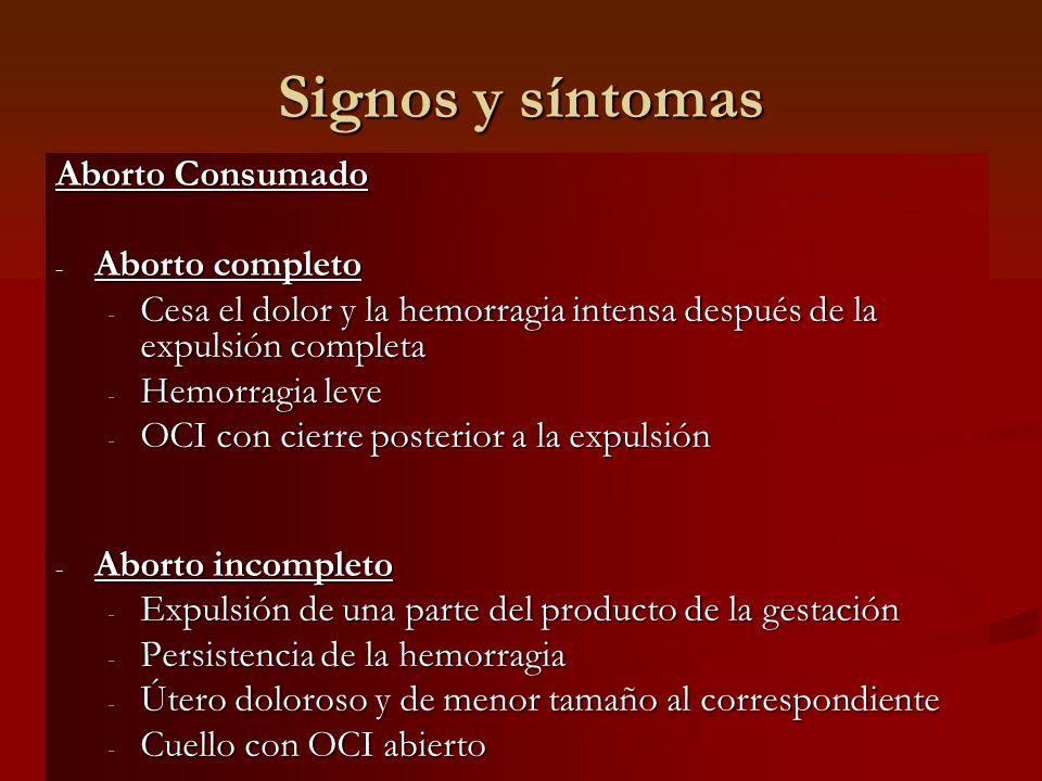 Signos y síntomas Aborto Consumado - Aborto completo - Cesa el dolor y la hemorragia intensa después de la expulsión completa - Hemorragia leve - OCI