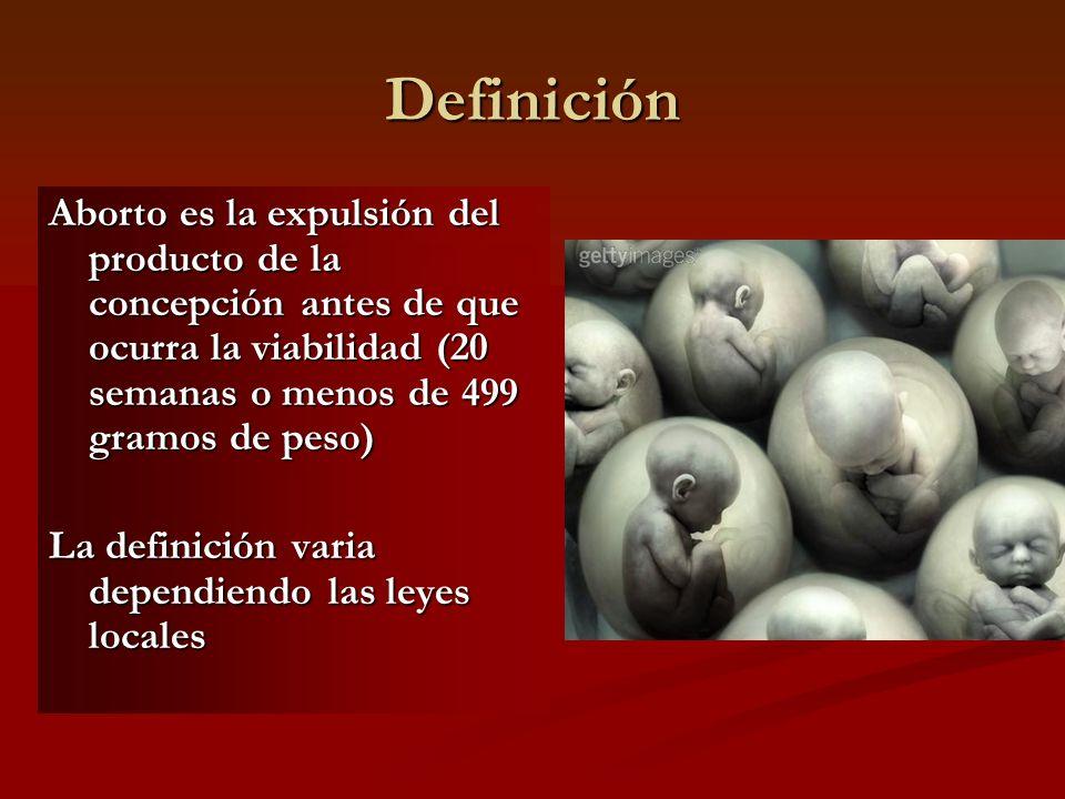 Definición Aborto es la expulsión del producto de la concepción antes de que ocurra la viabilidad (20 semanas o menos de 499 gramos de peso) La defini
