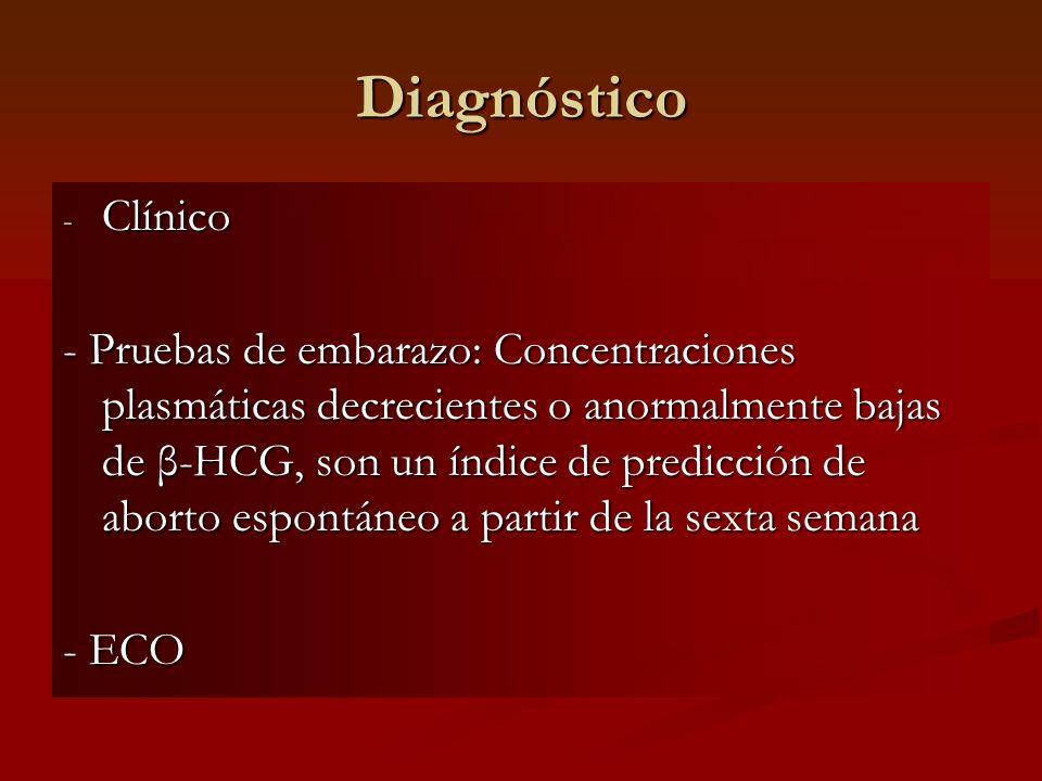 Diagnóstico - Clínico - Pruebas de embarazo: Concentraciones plasmáticas decrecientes o anormalmente bajas de β-HCG, son un índice de predicción de ab