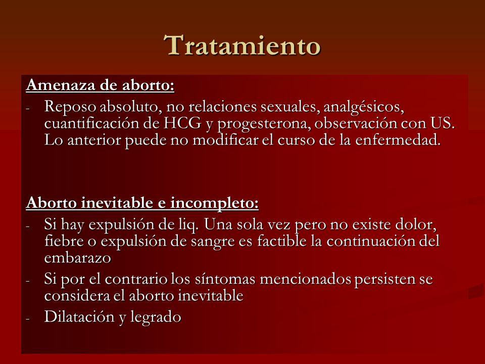 Tratamiento Amenaza de aborto: - Reposo absoluto, no relaciones sexuales, analgésicos, cuantificación de HCG y progesterona, observación con US. Lo an