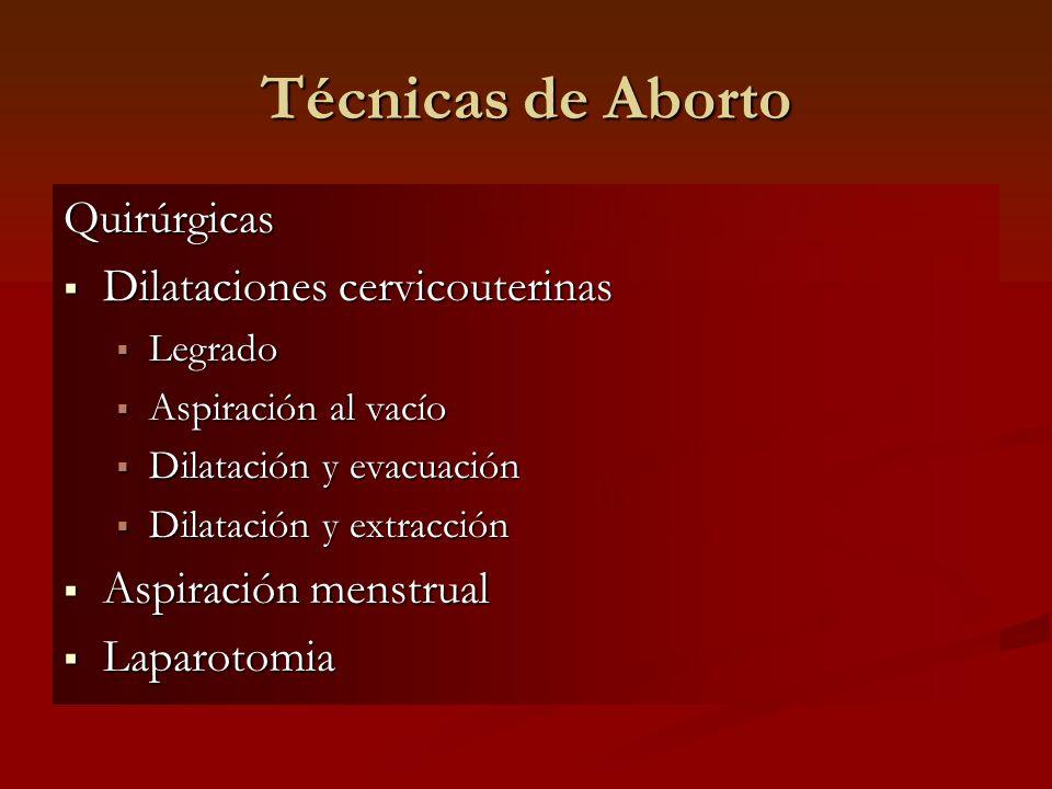 Técnicas de Aborto Quirúrgicas Dilataciones cervicouterinas Dilataciones cervicouterinas Legrado Legrado Aspiración al vacío Aspiración al vacío Dilat