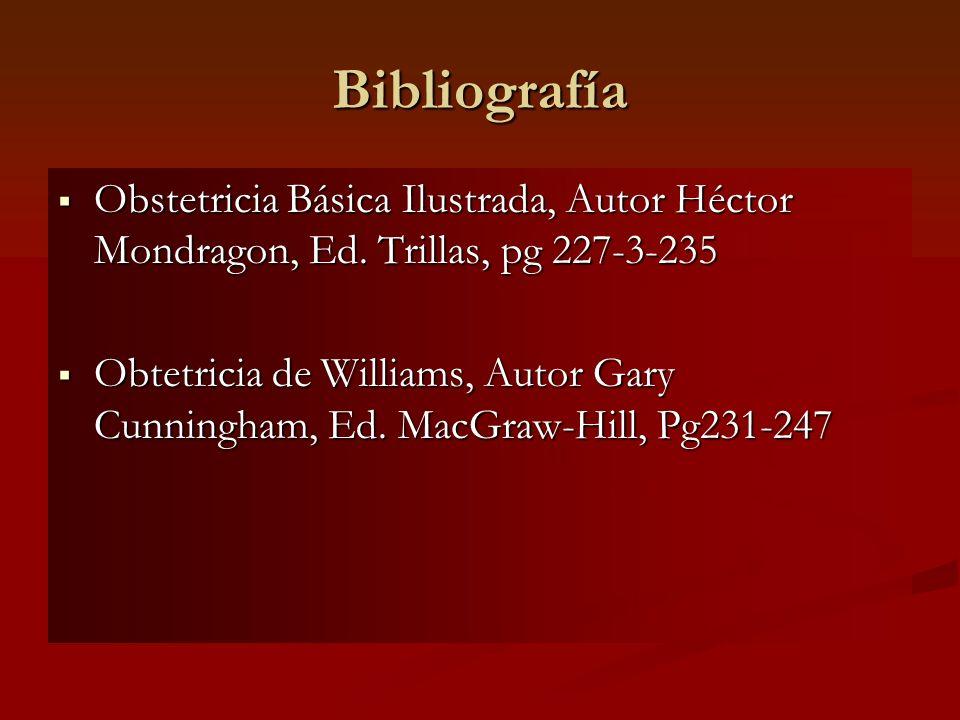Bibliografía Obstetricia Básica Ilustrada, Autor Héctor Mondragon, Ed. Trillas, pg 227-3-235 Obstetricia Básica Ilustrada, Autor Héctor Mondragon, Ed.