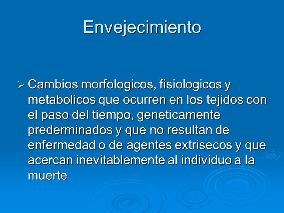 Envejecimiento Cambios morfologicos, fisiologicos y metabolicos que ocurren en los tejidos con el paso del tiempo, geneticamente prederminados y que n