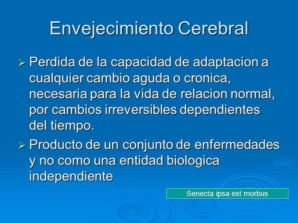 Envejecimiento Cerebral Perdida de la capacidad de adaptacion a cualquier cambio aguda o cronica, necesaria para la vida de relacion normal, por cambi