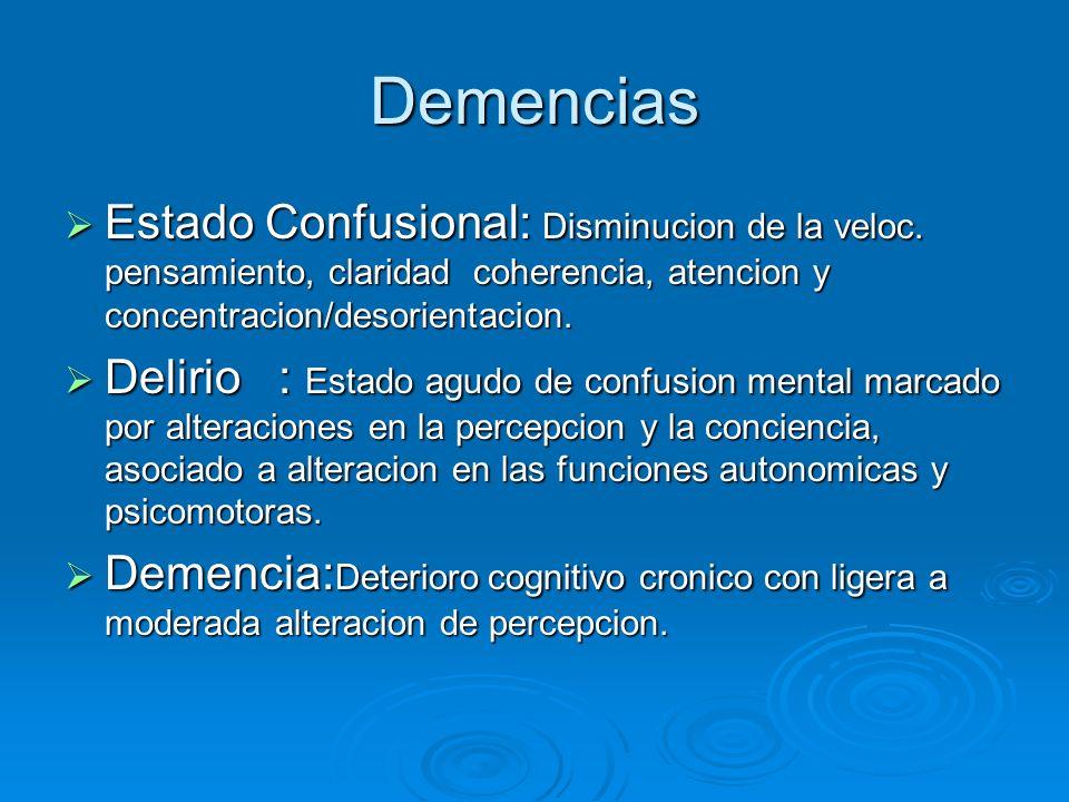 Demencias Estado Confusional: Disminucion de la veloc. pensamiento, claridad coherencia, atencion y concentracion/desorientacion. Estado Confusional: