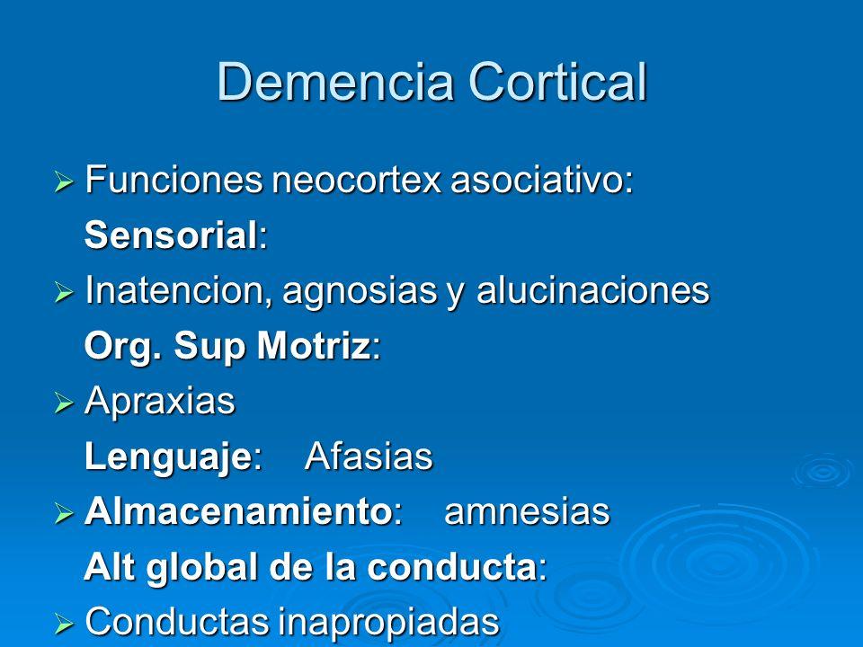 Demencia Cortical Funciones neocortex asociativo: Funciones neocortex asociativo: Sensorial: Sensorial: Inatencion, agnosias y alucinaciones Inatencio
