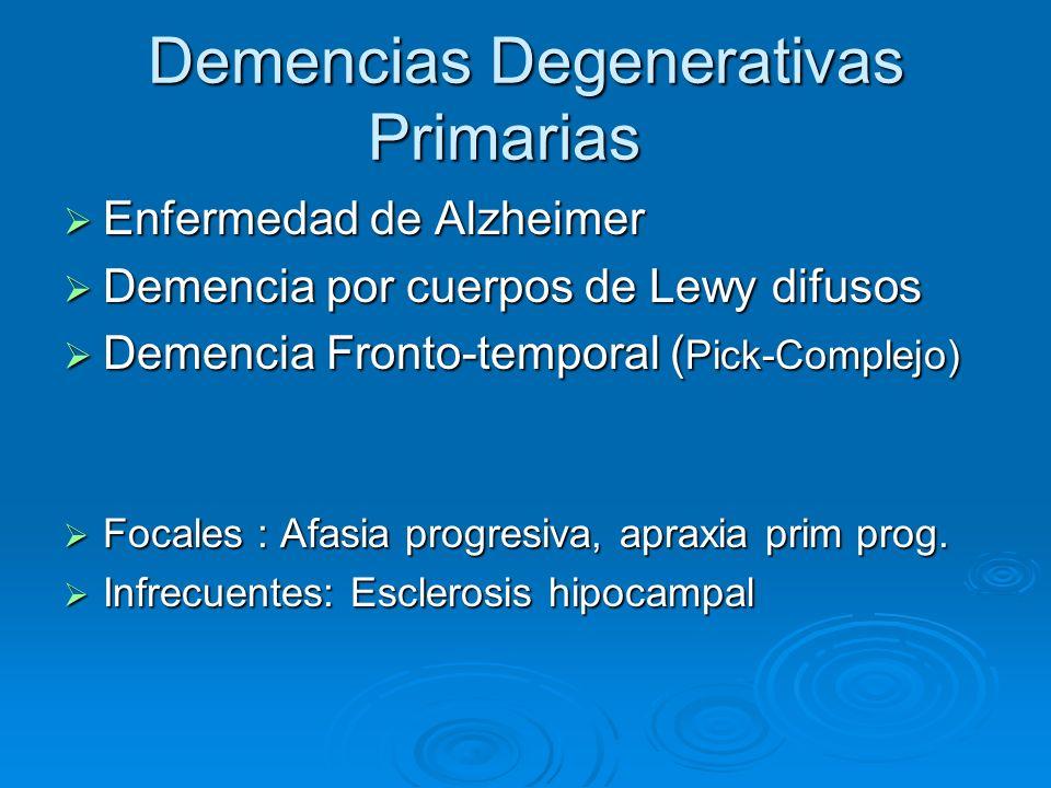 Demencias Degenerativas Primarias Enfermedad de Alzheimer Enfermedad de Alzheimer Demencia por cuerpos de Lewy difusos Demencia por cuerpos de Lewy di