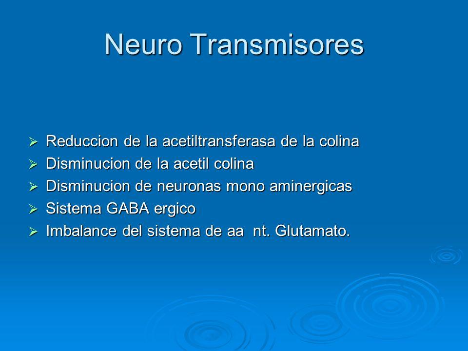 Neuro Transmisores Reduccion de la acetiltransferasa de la colina Reduccion de la acetiltransferasa de la colina Disminucion de la acetil colina Dismi