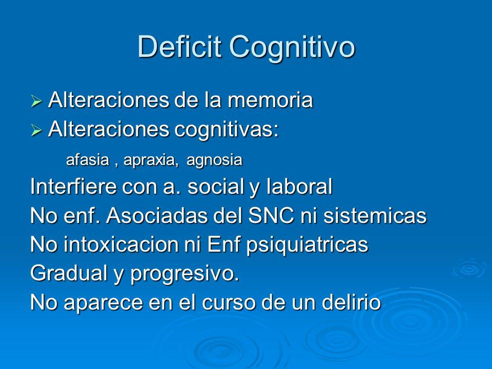 Deficit Cognitivo Alteraciones de la memoria Alteraciones de la memoria Alteraciones cognitivas: Alteraciones cognitivas: afasia, apraxia, agnosia afa