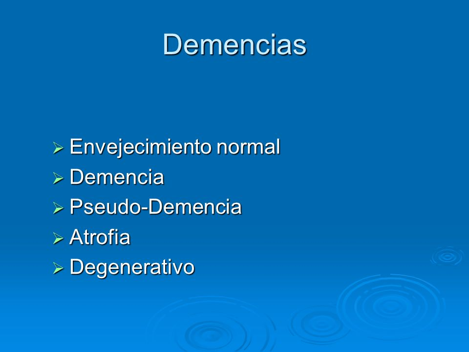 Frecuencias Alzheimer 60% Alzheimer 60% Demencia Vascular 6.3% Demencia Vascular 6.3% Causas tratables 10% Causas tratables 10% Demencia reversible 5% Demencia reversible 5% Miscelanea 5% Miscelanea 5%