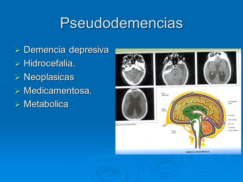 Pseudodemencias Demencia depresiva Demencia depresiva Hidrocefalia. Hidrocefalia. Neoplasicas Neoplasicas Medicamentosa. Medicamentosa. Metabolica Met