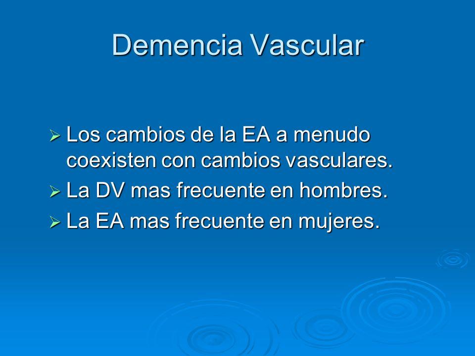 Demencia Vascular Los cambios de la EA a menudo coexisten con cambios vasculares. Los cambios de la EA a menudo coexisten con cambios vasculares. La D