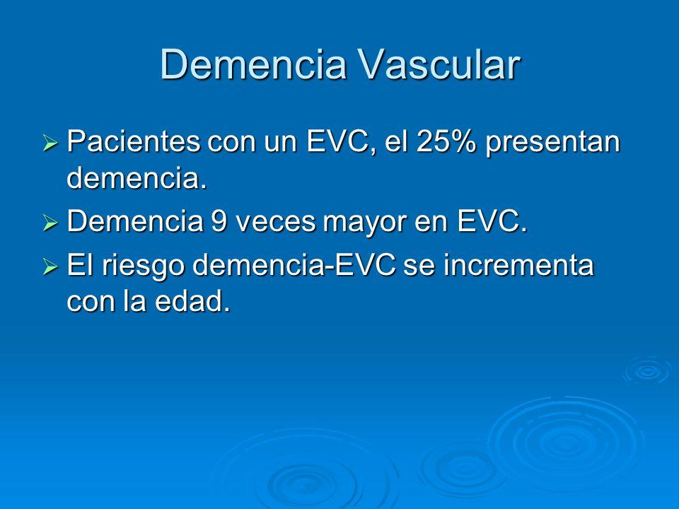 Demencia Vascular Pacientes con un EVC, el 25% presentan demencia. Pacientes con un EVC, el 25% presentan demencia. Demencia 9 veces mayor en EVC. Dem