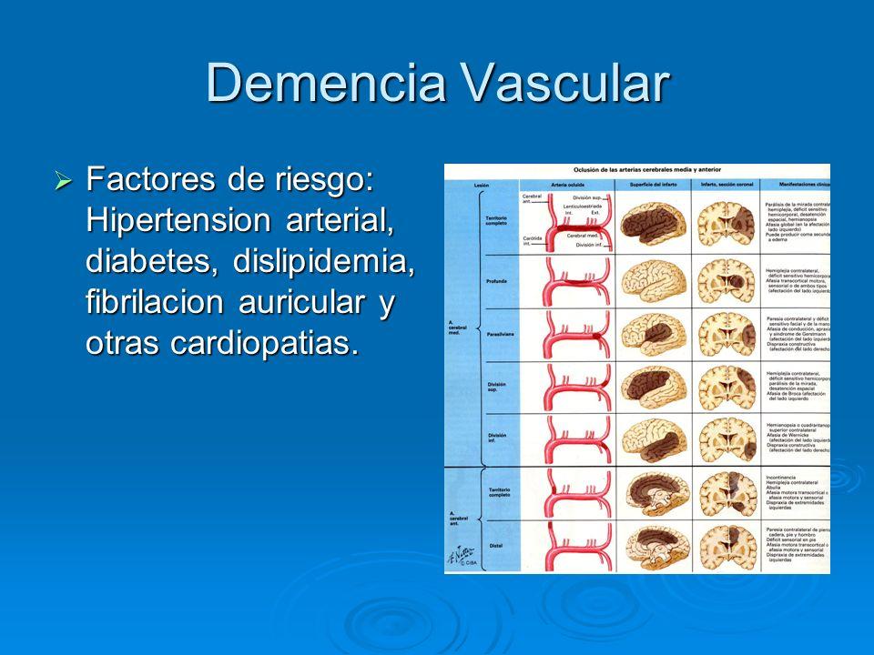 Demencia Vascular Factores de riesgo: Hipertension arterial, diabetes, dislipidemia, fibrilacion auricular y otras cardiopatias. Factores de riesgo: H