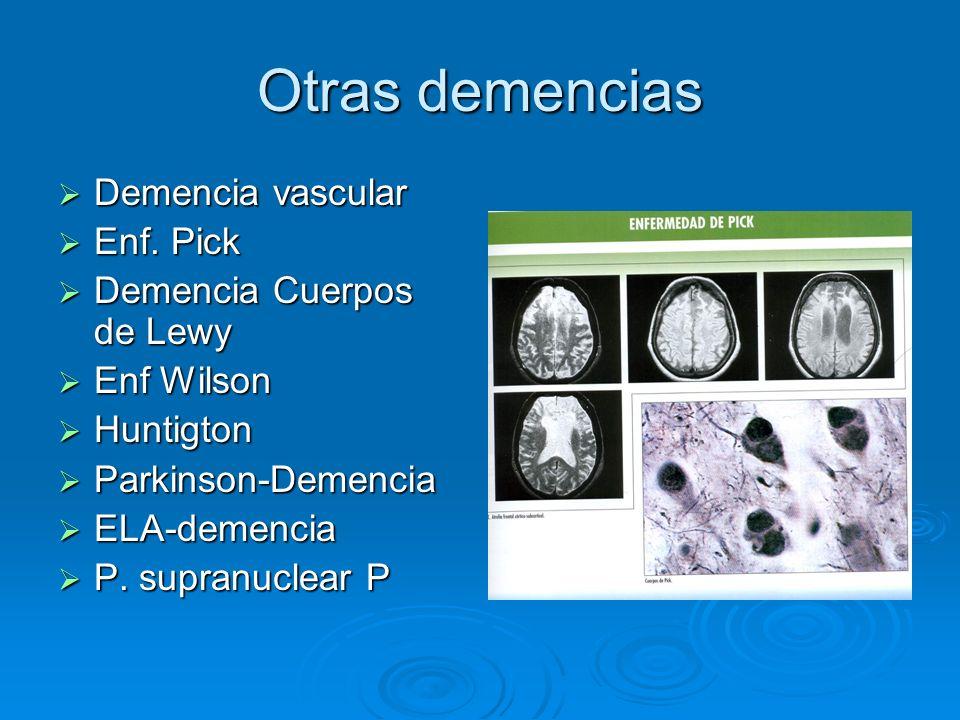 Otras demencias Demencia vascular Demencia vascular Enf. Pick Enf. Pick Demencia Cuerpos de Lewy Demencia Cuerpos de Lewy Enf Wilson Enf Wilson Huntig