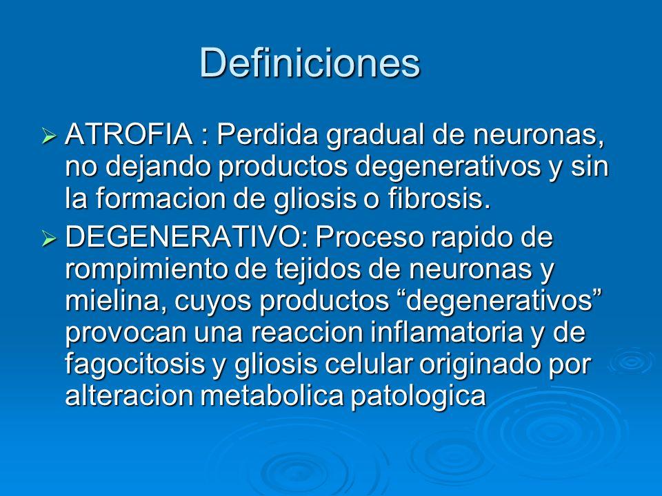 Definiciones ATROFIA : Perdida gradual de neuronas, no dejando productos degenerativos y sin la formacion de gliosis o fibrosis. ATROFIA : Perdida gra