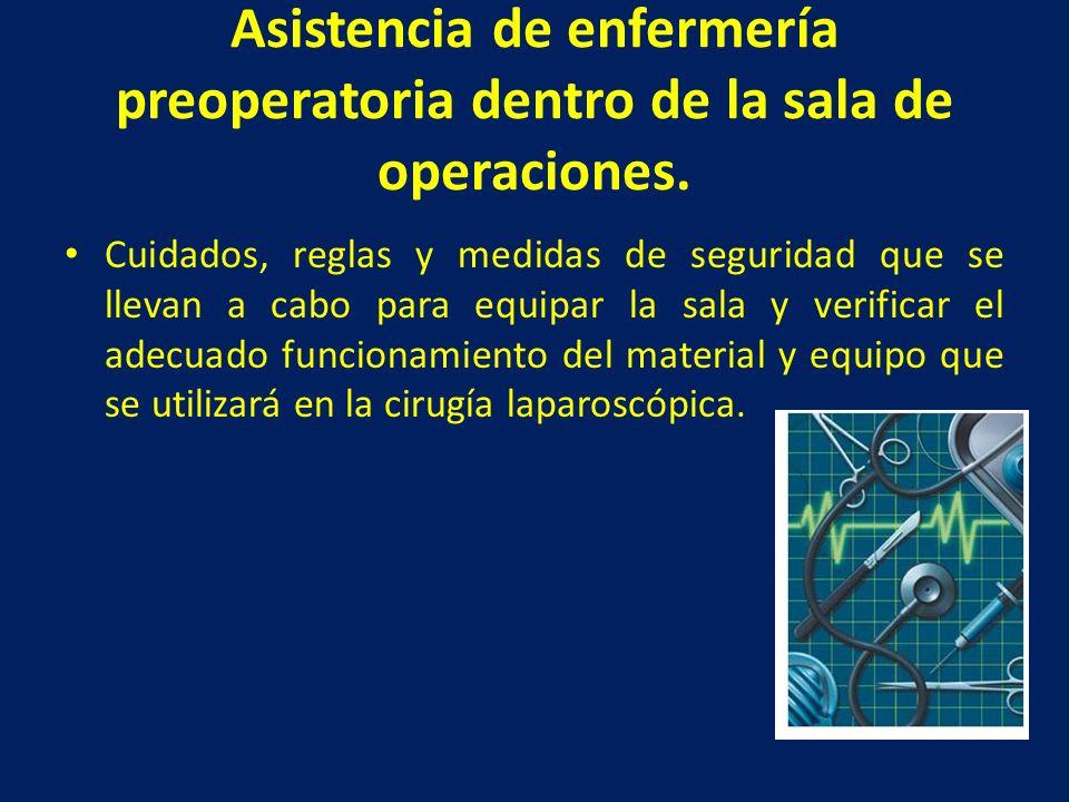 Asistencia de enfermería preoperatoria dentro de la sala de operaciones. Cuidados, reglas y medidas de seguridad que se llevan a cabo para equipar la
