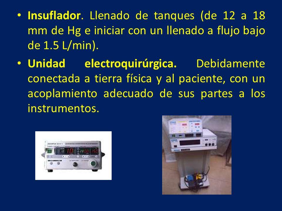 Insuflador. Llenado de tanques (de 12 a 18 mm de Hg e iniciar con un llenado a flujo bajo de 1.5 L/min). Unidad electroquirúrgica. Debidamente conecta