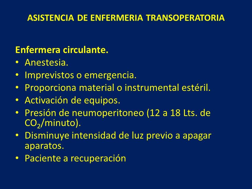 ASISTENCIA DE ENFERMERIA TRANSOPERATORIA Enfermera circulante. Anestesia. Imprevistos o emergencia. Proporciona material o instrumental estéril. Activ
