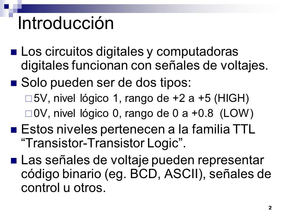2 Introducción Los circuitos digitales y computadoras digitales funcionan con señales de voltajes. Solo pueden ser de dos tipos: 5V, nivel lógico 1, r