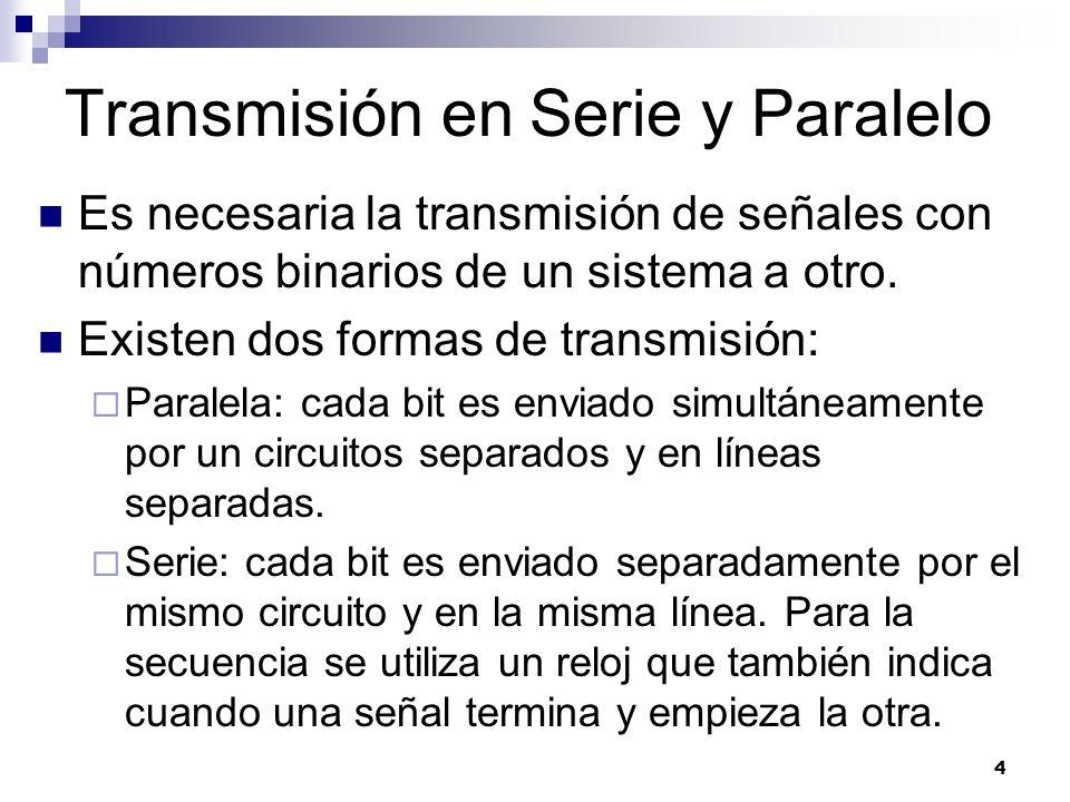 4 Transmisión en Serie y Paralelo Es necesaria la transmisión de señales con números binarios de un sistema a otro. Existen dos formas de transmisión: