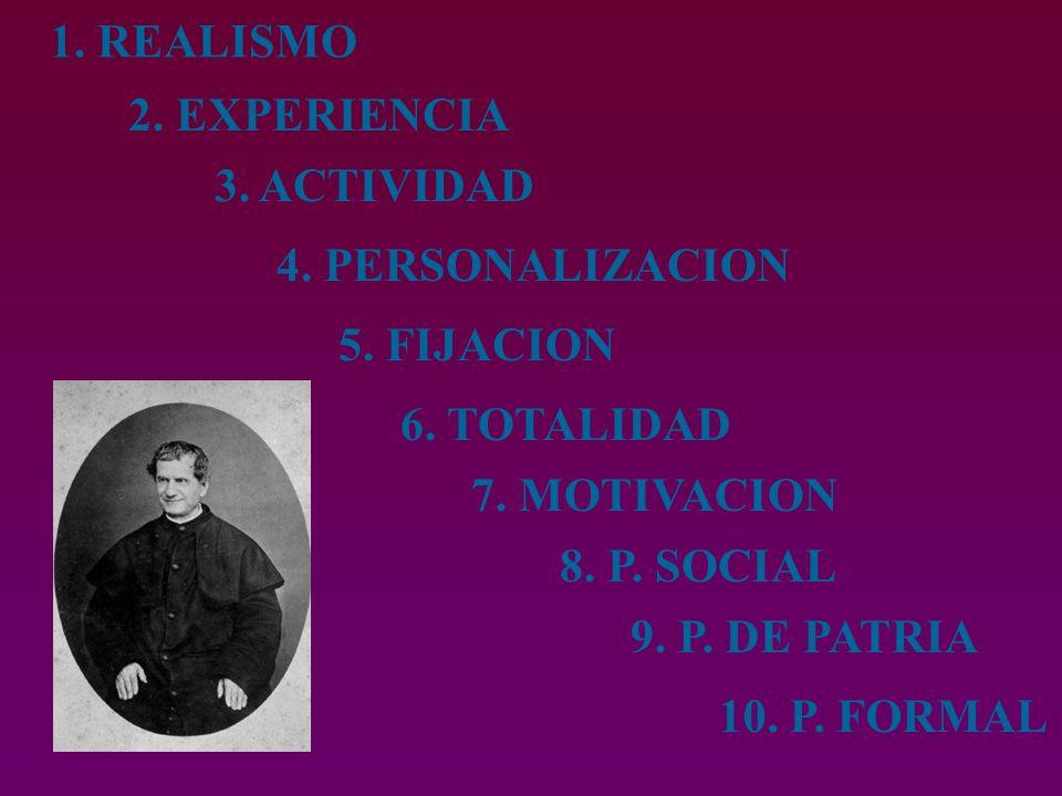 1.REALISMO 2. EXPERIENCIA 3. ACTIVIDAD 4. PERSONALIZACION 5.