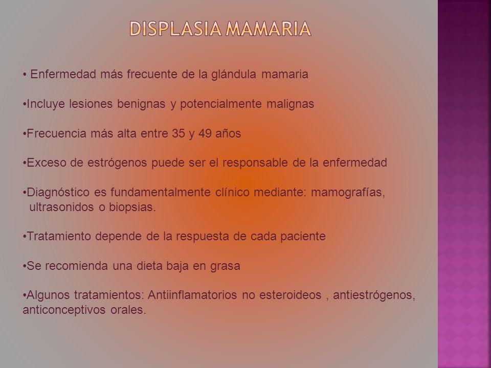 Enfermedad más frecuente de la glándula mamaria Incluye lesiones benignas y potencialmente malignas Frecuencia más alta entre 35 y 49 años Exceso de e