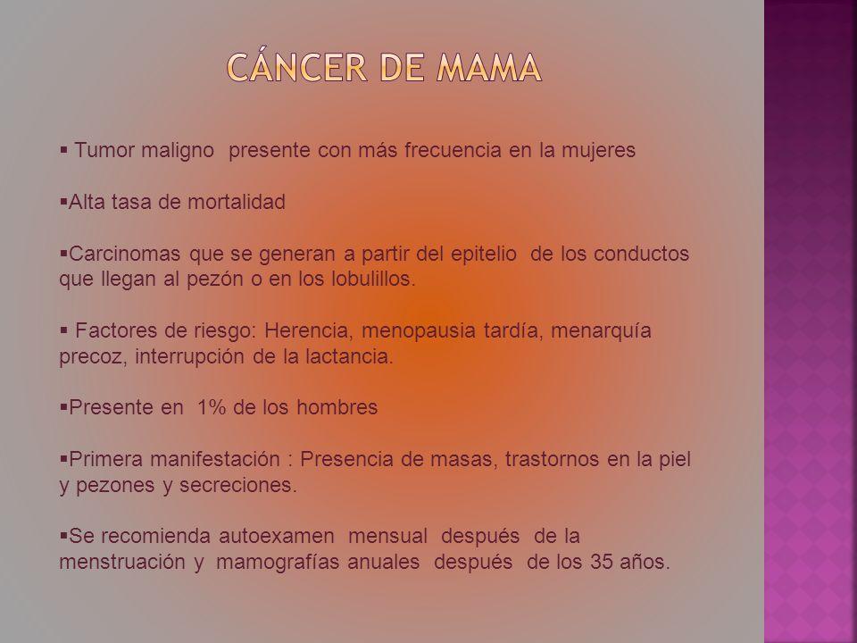 Tumor maligno presente con más frecuencia en la mujeres Alta tasa de mortalidad Carcinomas que se generan a partir del epitelio de los conductos que l