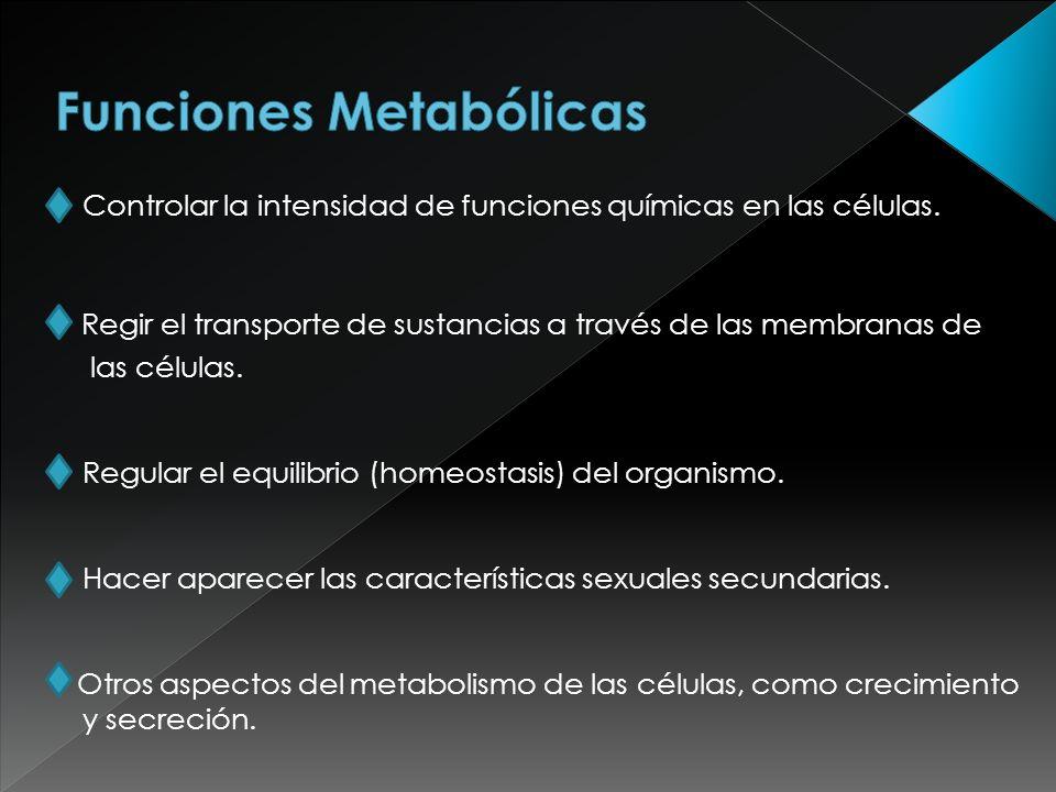 Controlar la intensidad de funciones químicas en las células. Regir el transporte de sustancias a través de las membranas de las células. Regular el e