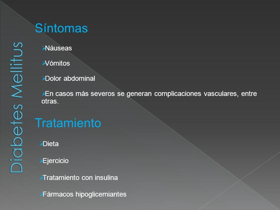 Síntomas Náuseas Vómitos Dolor abdominal En casos más severos se generan complicaciones vasculares, entre otras. Tratamiento Dieta Ejercicio Tratamien