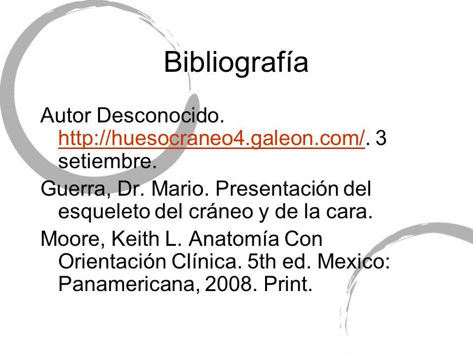 Bibliografía Autor Desconocido. http://huesocraneo4.galeon.com/. 3 setiembre. http://huesocraneo4.galeon.com/ Guerra, Dr. Mario. Presentación del esqu