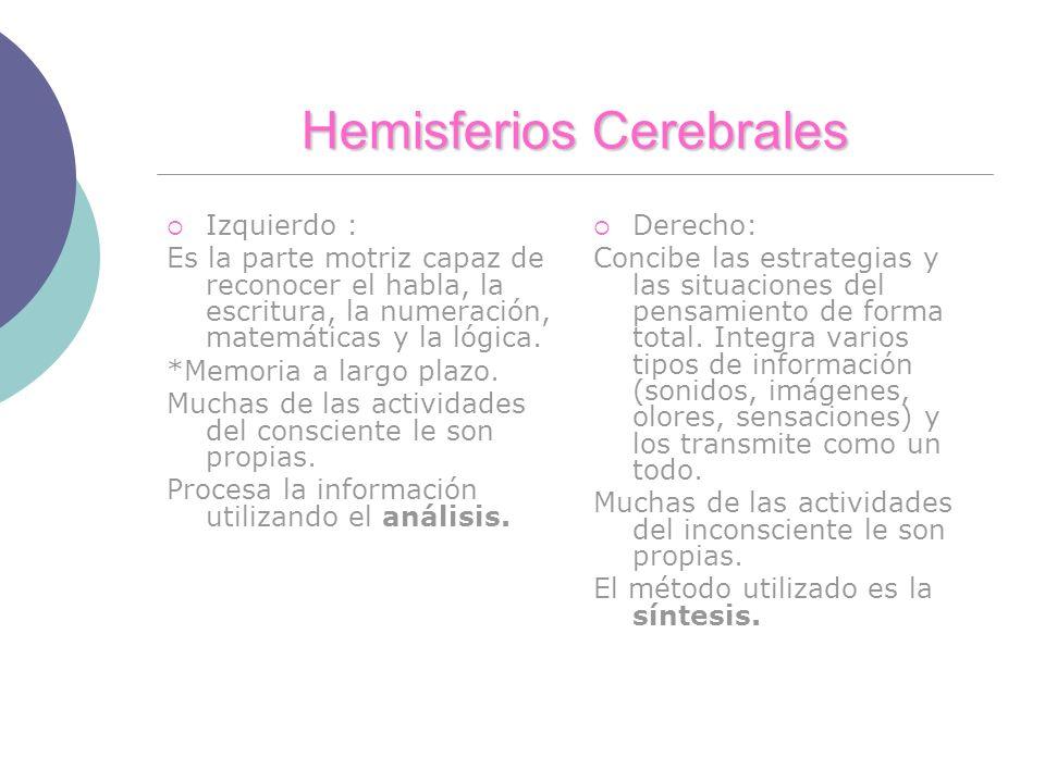 Hemisferios Cerebrales Izquierdo : Es la parte motriz capaz de reconocer el habla, la escritura, la numeración, matemáticas y la lógica. *Memoria a la