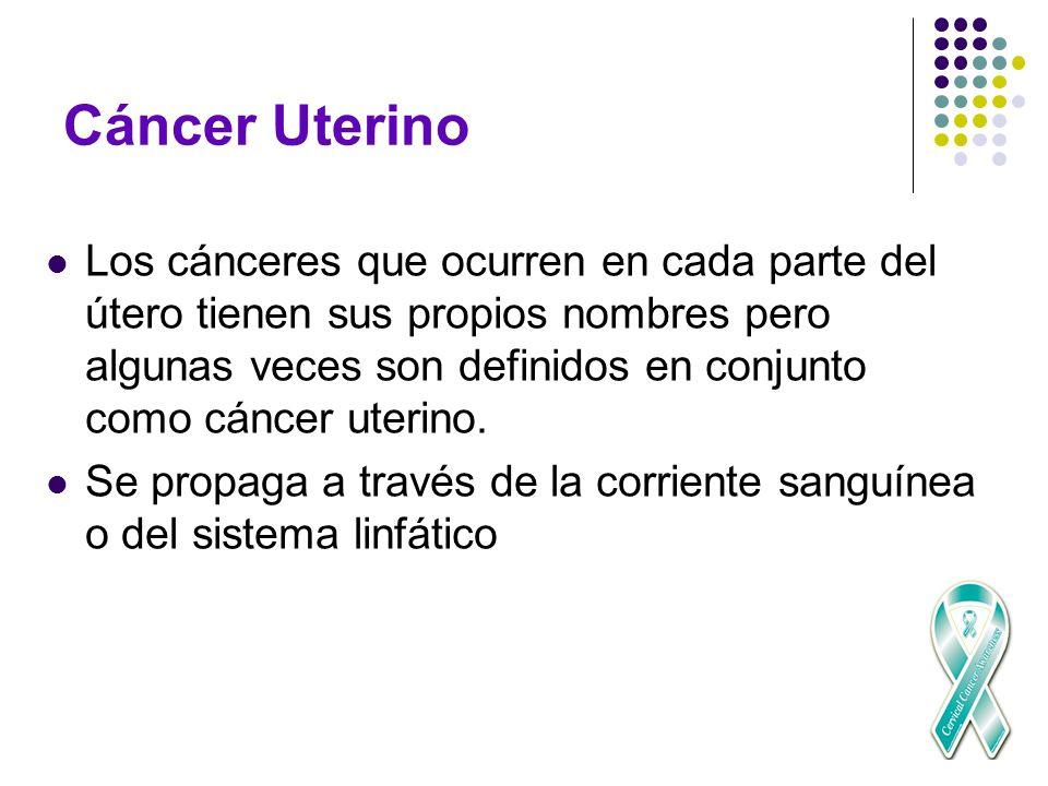 Cáncer Uterino Los cánceres que ocurren en cada parte del útero tienen sus propios nombres pero algunas veces son definidos en conjunto como cáncer ut