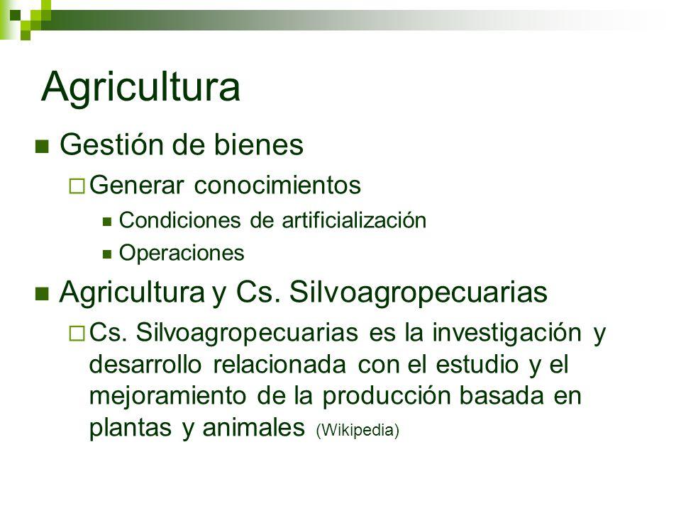 Agricultura Gestión de bienes Generar conocimientos Condiciones de artificialización Operaciones Agricultura y Cs. Silvoagropecuarias Cs. Silvoagropec