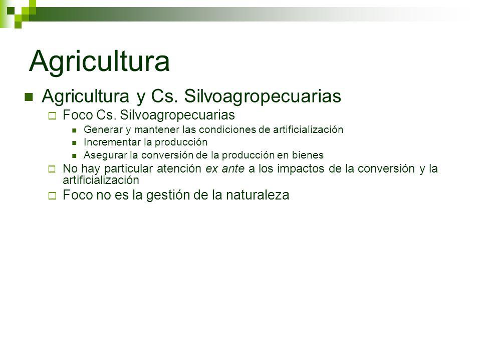 Agricultura Agricultura y Cs. Silvoagropecuarias Foco Cs. Silvoagropecuarias Generar y mantener las condiciones de artificialización Incrementar la pr